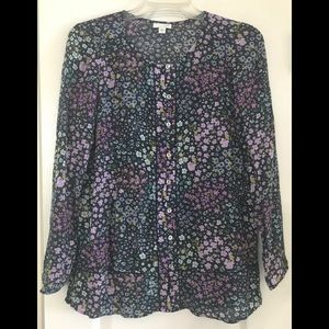 J. Jill floral lightweight blouse tunic blue